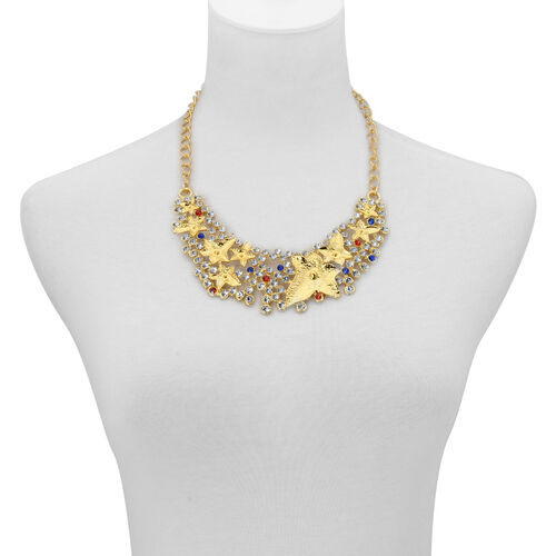 Simulated White, Red and Blue Stone Necklace (Size 18 with 2 inch Extender) and Hook Earrings in Gold Tone