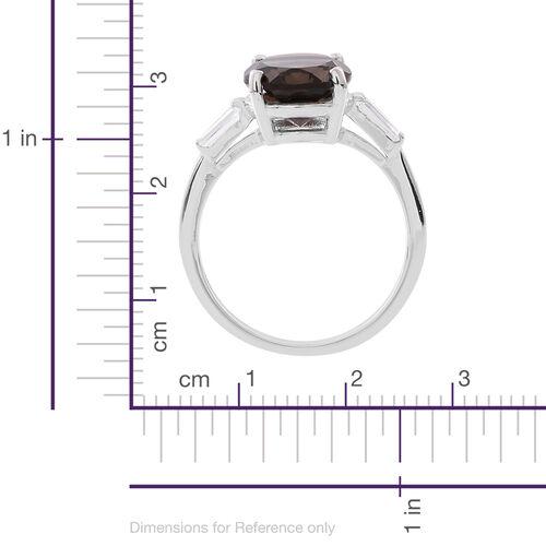 Brazilian Smoky Quartz (Ovl 4.25 Ct), White Topaz Ring in Rhodium Plated Sterling Silver 4.500 Ct.