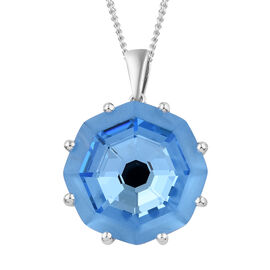 J Francis -Crystal from Swarovski  Aquamarine Colour Crystal (Hexagon 23 mm) Pendant With Chain in Platinum Overlay Sterling Silver, Silver wt 7.15 Gms.