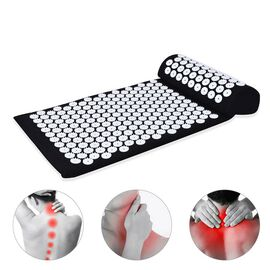 2 Piece Set - Acupressure Mat (58x36cm) and Pillow (36x14x9cm) - Black and White