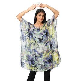 100% Mulberry Silk Digital Printed Kaftan in Purple and Multi Colour (Size 95x90Cm)