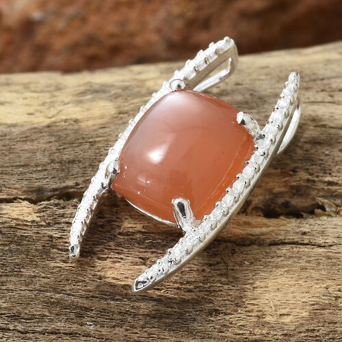 Peach Moonstone (Cush 10x8 mm) Solitaire Pendant in Sterling Silver 3.250 Ct.