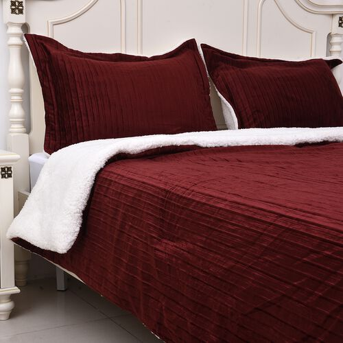 Luxury Edition Super Soft and Plush Pleated Faux Mink Sherpa Comforter Set and 2 Pillow Cases - Duvet (220x225) - Wine Red