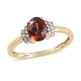 Tucson Close Out- AAA Rare Red Zircon (Ovl 7x5mm), Natural Cambodian Zircon Ring in 9K Yellow Gold.1