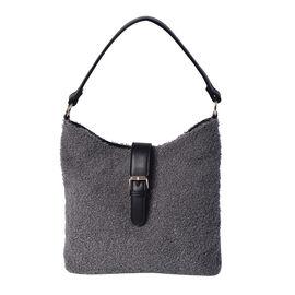 Faux Fur Shoulder Bag (26x24x5cm) with Clasp Closure - Dark Grey