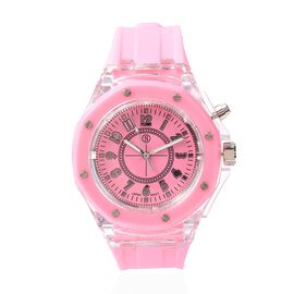 STRADA Japanese Movement Water Resistance Watch with Pink Colour Silicone Strap