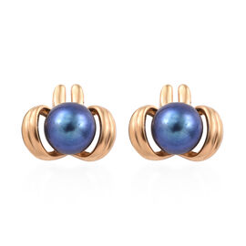 Freshwater Peacock Pearl Solitaire Stud Earrings in Sterling Silver Grams With Push Back