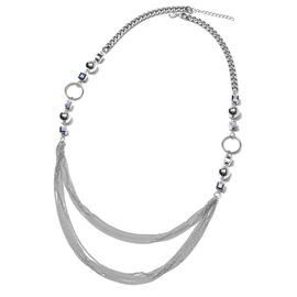 Simulated Grey Spinel (Sqr) Necklace (Size 35 with 2 inch Extender) in Silver Tone