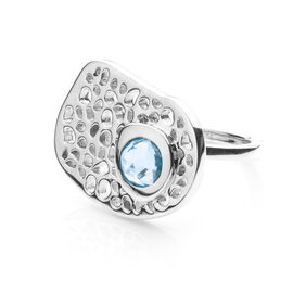 RACHEL GALLEY Swiss Blue Topaz (Rnd) Lattice Ring in Rhodium Overlay Sterling Silver 1.015 Ct, SIlve