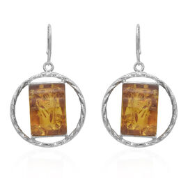 Natural Baltic Amber Lever Back Earrings in Sterling Silver, Silver wt 8.60 Gms