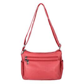 100% Genuine Leather Multiple Pocket Crossbody Bag with Zipper Closure & Adjustable Shoulder Strap (