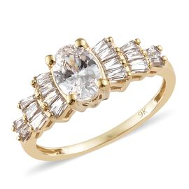 J Francis - 9K Yellow Gold (Ovl and Bgt) Ring Made with SWAROVSKI ZIRCONIA