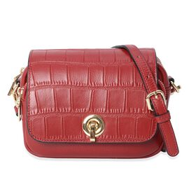 100% Genuine Leather Croc Embossed Crossbody Bag with Long Detachable Strap (Size 19x6x15 Cm) - Wine