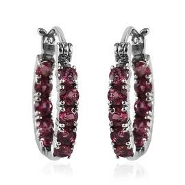 1.75 Ct Orissa Rose Garnet Hoop Earrings in Stainless Steel