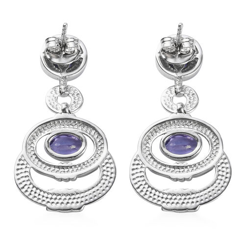 AA Tanzanite Enamelled Earrings (with Push Back) in Platinum Overlay Sterling Silver 1.50 Ct, Silver wt 7.00 Gms