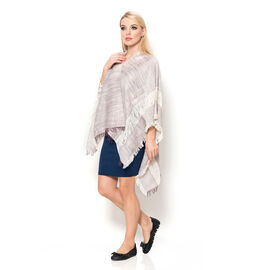 100% Cotton Rich Plum and Off White Colour Kimono (Size 110x75 Cm)