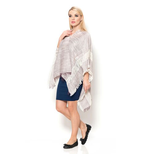 100% Cotton Rich Plum and Off White Colour Kimono (Size 110x75 Cm)