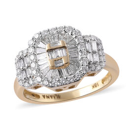 Super Auction- ILIANA 18K Yellow Gold IGI Certified Diamond (Bgt and Rnd) (SI/G-H) Ring 1.00 Ct, Gol