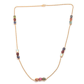 Multi Gem Stone Sterling Silver Necklace (Size 24)  14.042  Ct.
