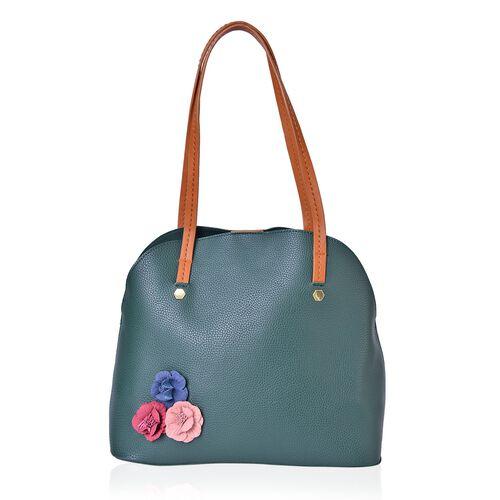 Set of 2 - Multi Colour 3D Flowers Embellished Green Colour Handbag (Size 34X29X15 Cm) and Pouch (Size 27X20X7 Cm)