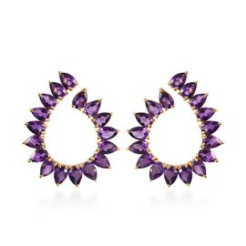 Zambian Amethyst (Pear) Earrings (with Push Back) in 14K Gold Overlay Sterling Silver 13.00 Ct, Silv