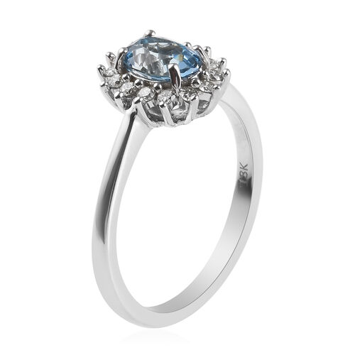 ILIANA 18K White Gold AAA Santa Maria Aquamarine (Ovl 7x5mm), Diamond (SI/G-H) Ring 1.00 Ct.
