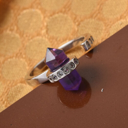 Sundays Child - Amethyst and Natural Cambodian Zircon Ring in Platinum Overlay Sterling Silver 3.25 Ct.