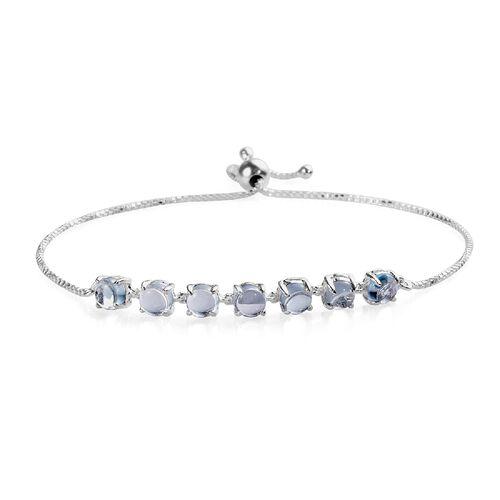 5 Carat Sky Blue Topaz Friendship Adjustable Bracelet in Sterling Silver 6.5 to 9 Inch