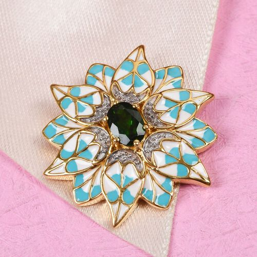 Russian Diopside Enamelled Floral Pendant in 14K Gold Overlay Sterling Silver wt. 5.01 Gms