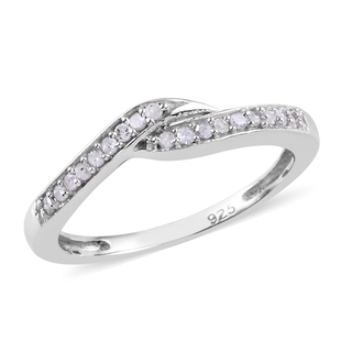 Diamond Ring in Platinum Overlay Sterling Silver 0.100  Ct.