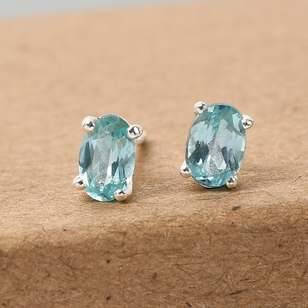 Paraibe Apatite Earrings (with Push Back) in Sterling Silver