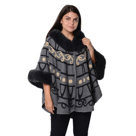 Spring Special - Abstract Pattern Half Round Shape Free Size Blanket Wrap with Faux Fur Collar and S