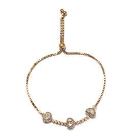 GP Diamond (Rnd and Bgt), Kanchanaburi Blue Sapphire Bracelet (Size 6.5 - 9.5 Adjustable) in Platinu