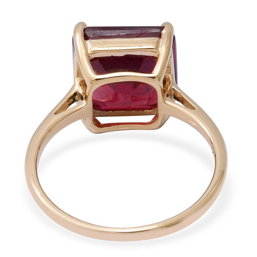 One Time Deal- 9K Yellow Gold AAA African Ruby (Asscher Cut) Solitaire Ring 7.15 Ct.