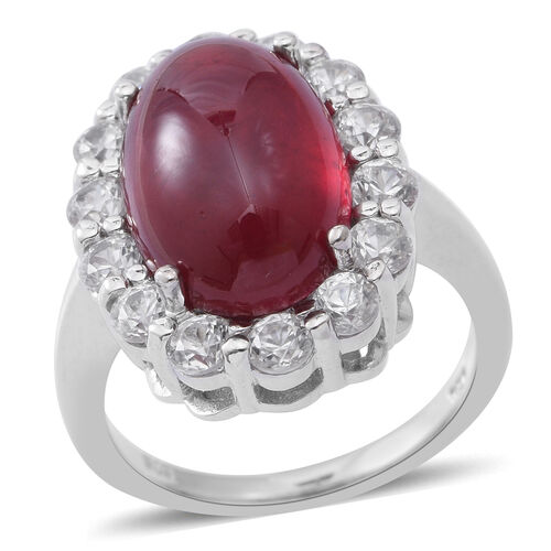 13.70 Ct African Ruby and Zircon Halo Ring in Rhodium Plated Sterling Silver 5.19 Grams