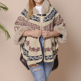 Beige, Red & Blue Colour Half Round Shape Blanket Wrap with Faux Fur Collar (Size 109.22 x 80.01cm)