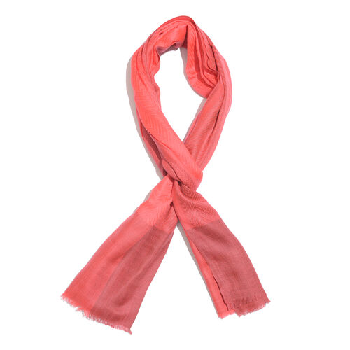 100% Cashmere Wool Salmon Colour Zigzag Pattern Shawl with Fringes (Size 200X65 Cm)
