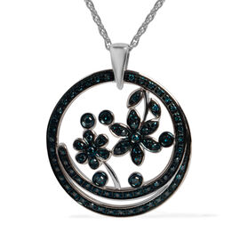 0.4 Ct Blue Diamond Floral Pendant in Sterling Silver