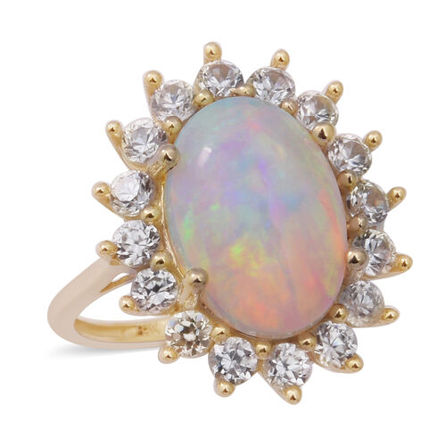 6.18 Ct Ethiopian Welo Opal and Cambodian Zircon Ring in 9K Yellow Gold