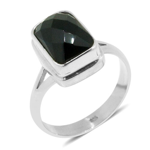 Royal Bali Collection Boi Ploi Black Spinel (Oct) Solitaire Ring in Sterling Silver 6.660 Ct.