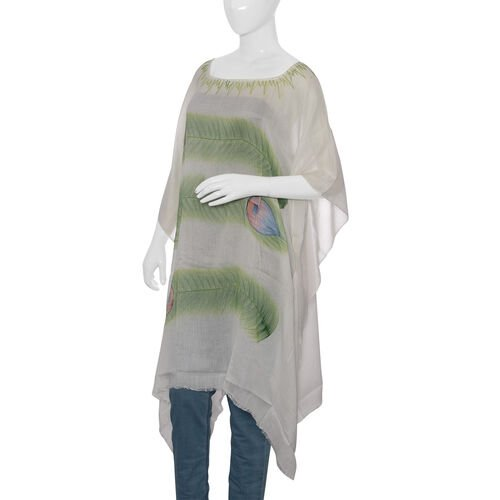 Designer Inspired Hand Painted White and Green Colour Beach tree Pattern Kaftan (Free Size)