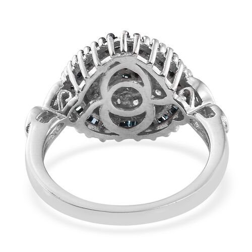 Blue Diamond (Rnd), White Diamond Heart Ring in Platinum Overlay Sterling Silver 0.505 Ct.