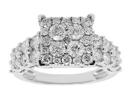 2 Carat New York Close Out Deal Diamond Cluster Ring in 14K White Gold 5.40 Grams I1 I2 GH