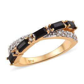 Thai Black Spinel (1.00 Ct),Cambodian Zircon 14K Gold Overlay Sterling Silver Ring  1.000  Ct.
