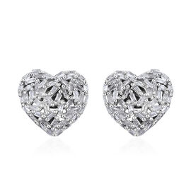 GP 0.54 Ct Diamond and Kanchanaburi Blue Sapphire Heart Stud Earrings in Platinum Plated Silver