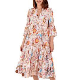 Nova of London Viscose Paisley Print Midi Dress - Beige