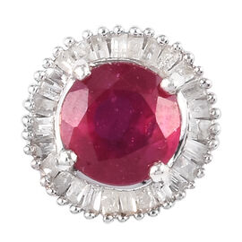 One Time Deal- African Ruby and Diamond Pendant  in Platinum Overlay Sterling Silver 1.30 Ct.