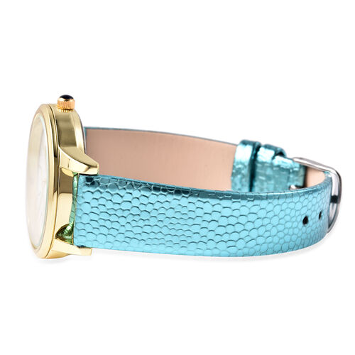 2 Piece Set - STRADA Japanese Movement Kitty Pattern Water Resistant Watch with Blue Strap and Kitty Key Chain in Gold Tone