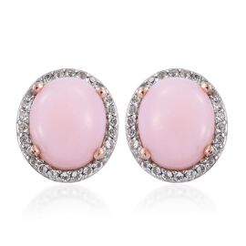 Natural Peruvian Pink Opal (Ovl), White Topaz Stud Earrings (with Push Back) in Rose Gold Overlay St