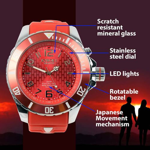 KYBOE Japanese Movement 100M Water Resistant Summer Romance LED Watch in Stainless Steel with Rotating Bezel and Red Strap - 55MM